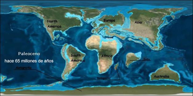 Situación del mundo en el Paleoceno, tras la extinción de los dinosaurios