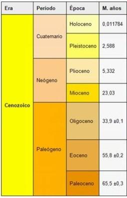 Cronología de la prehistoria. La Era Cenozoica y sus respectivos periodos