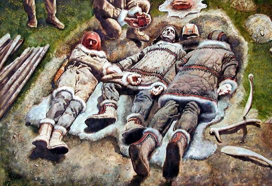 Recreación del enterramiento hallado en Dolni Vestonice