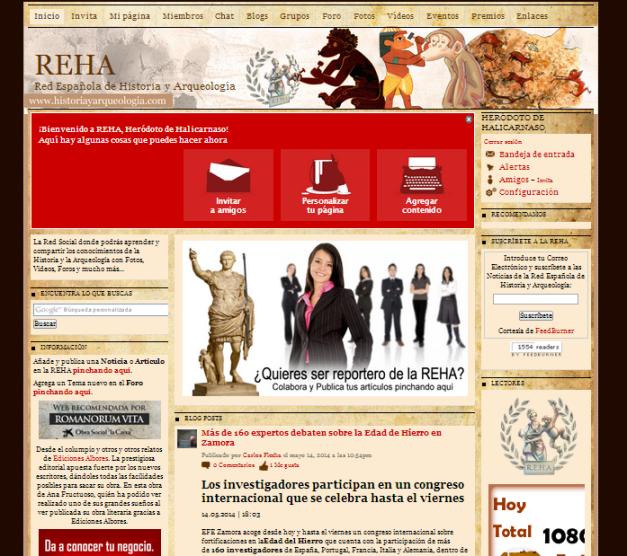 Captura de pantalla de la página de inicio de esta red social