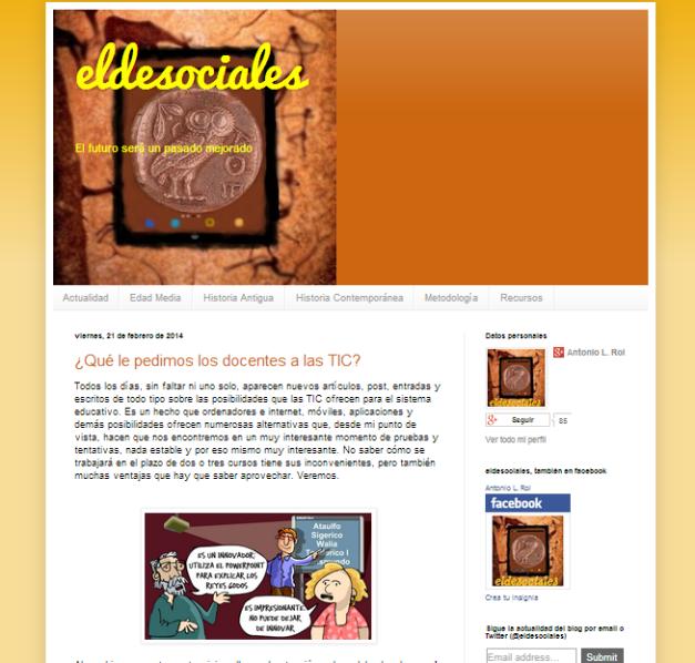 Captura de pantalla del blog