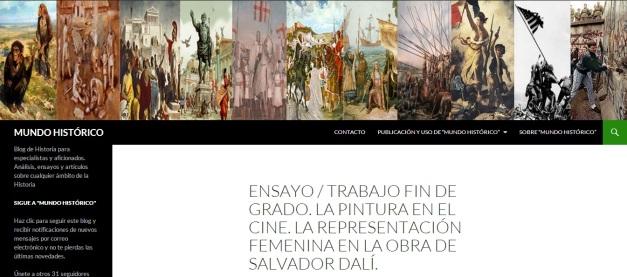 Captura de pantalla general de este blog para historiadores o especialistas