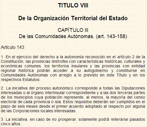 Captura de pantalla de la web donde se puede leer la Constitución de forma online