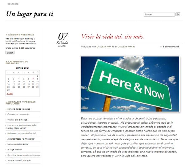 Captura de pantalla del blog Un lugar para ti
