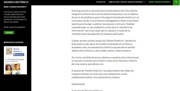 Captura de pantalla del mensaje de bienvenida del blog