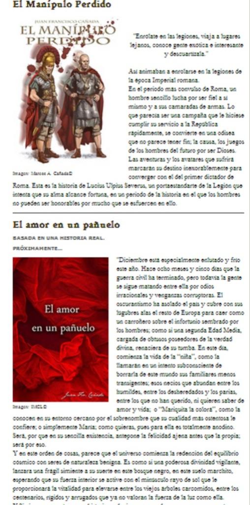 Captura de pantalla en la que se puede observar la sinopsis de ambos libros
