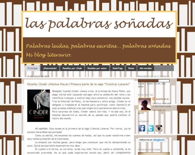 Captura de pantalla general de este blog literario