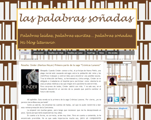 Captura de pantalla general de este blog literario