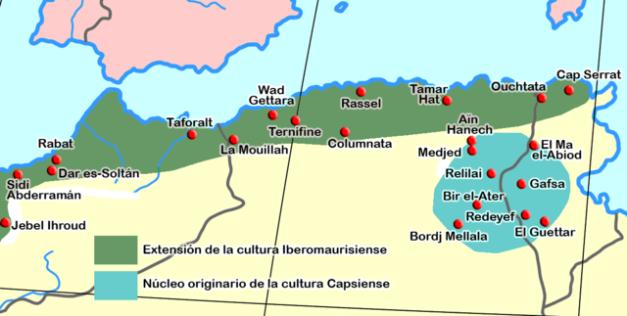 Extensión geográfica en un mapa del Iberomauritano en el norte africano