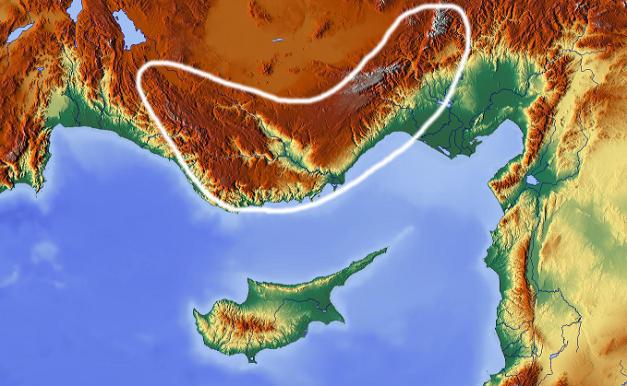 Localización de los montes Tauro en el sur de la península de Anatolia