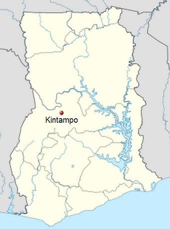 Localización en Ghana del área de Kintampo