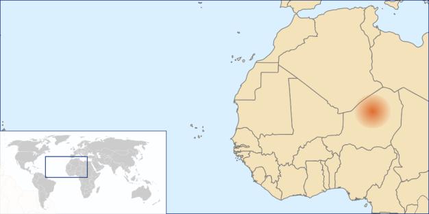 Localización en un mapa continental y mundial del desierto de Teneré