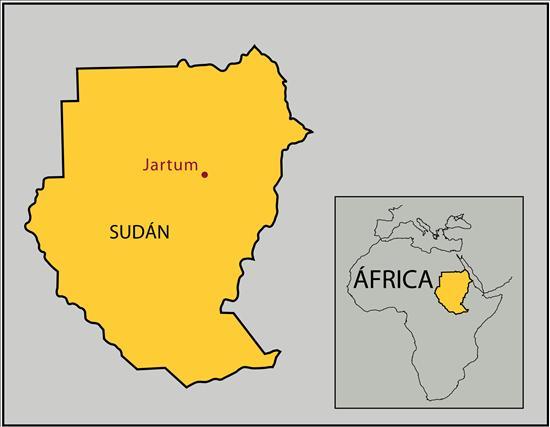 Localización en un mapa regional y continental de la ciudad de Jartum