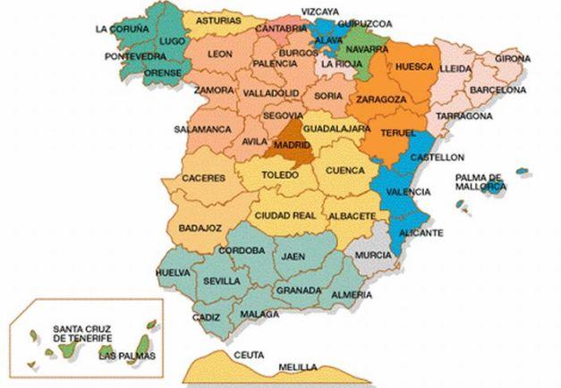 Mapa autonómico de España dividido en las provincias