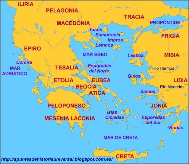 Mapa básico del Egeo y alrededores en la Antigüedad