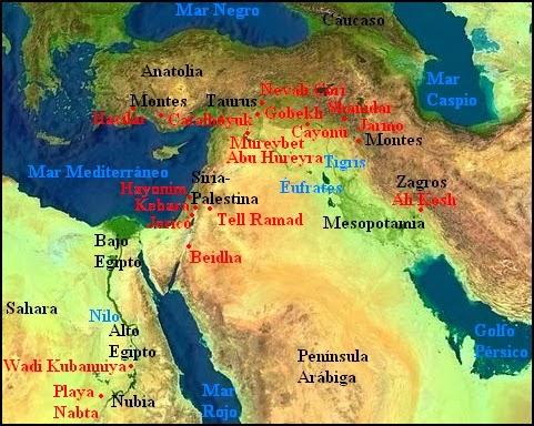 Mapa de distribución arqueológica de yacimientos mesolíticos y neolíticos