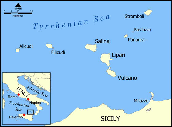 Mapa detallado que muestra la ubicación de la isla de Lipari