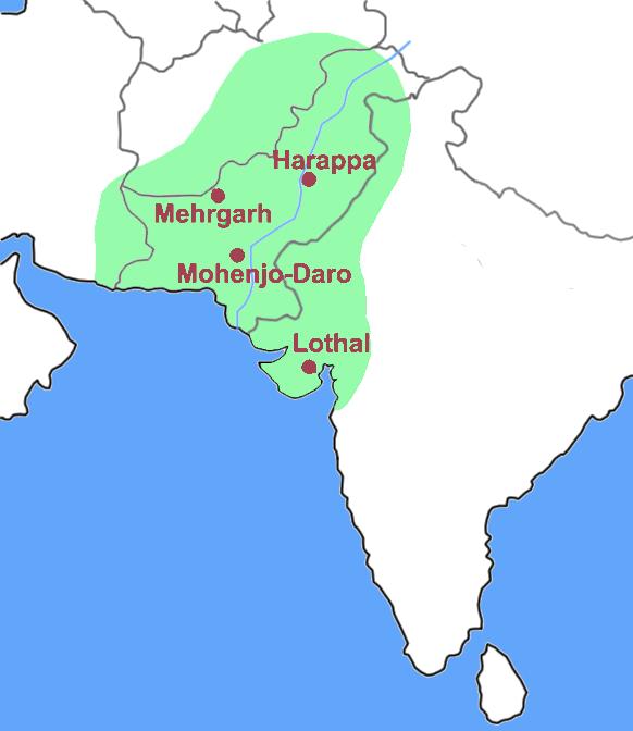 Mapa en el que se ubican algunos de los sitios más importantes del neolítico indio