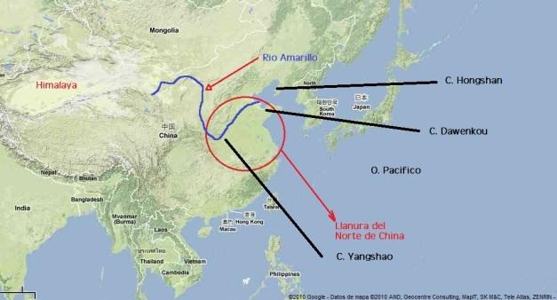 Mapa explicativo de la cultura de Yangshao