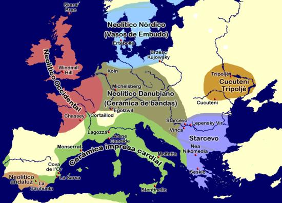Mapa que muestra en verde la distribución de la cerámica mediterránea que da nombre al neolítico cardial