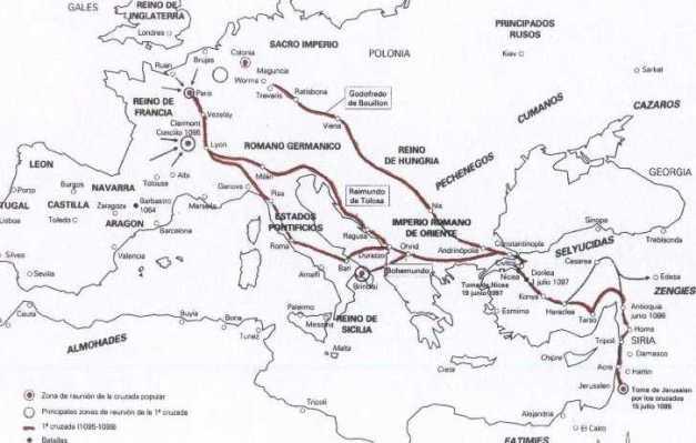 Mapa que muestra la trayectoria y batallas de la Primera Cruzada