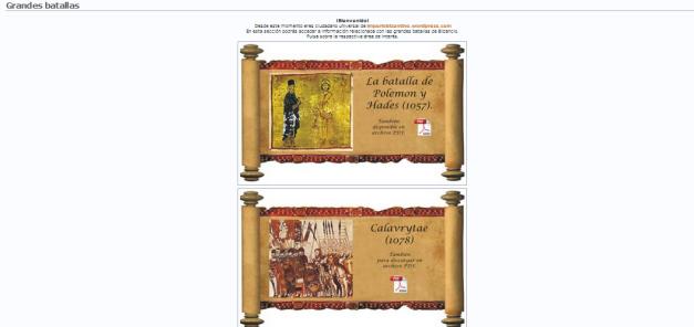 Captura de pantalla de parte de la sección de grandes batallas del blog