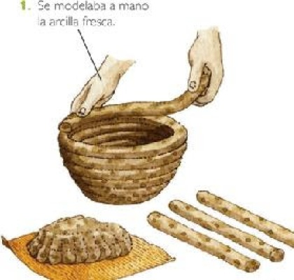 Pieza cerámica neolítica modelada a base de la técnica de cordones