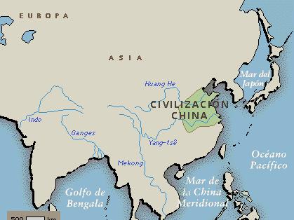 Porción de terreno ocupada por las primeras civilizaciones en China