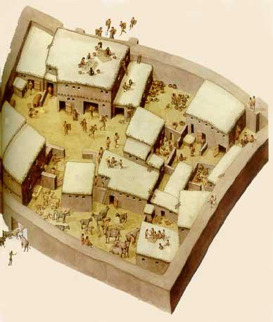 Reconstrucción del poblado de Hacilar