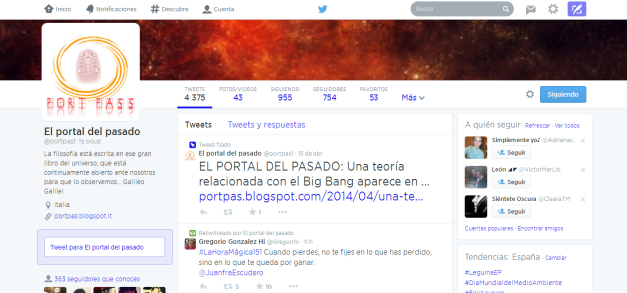 Captura de pantalla de la cuenta de twitter de este blog
