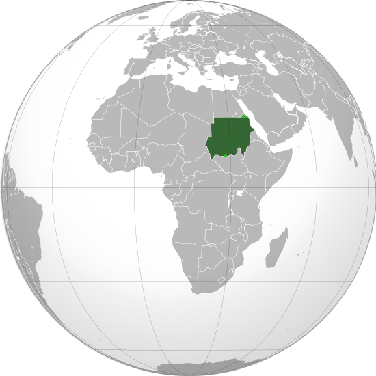 Ubicación de Sudán en un mapa global enfocado en África