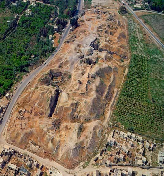 Vista del yacimiento de Jericó desde el aire
