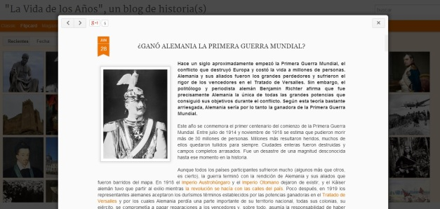 Captura de pantalla de uno de los artículos de este blog