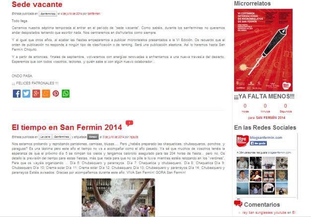 Captura de pantalla general de este blog sobre los sanfermines