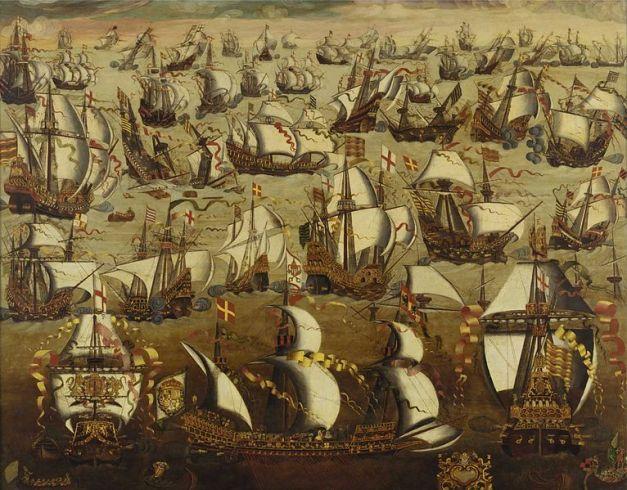 Cuadro que refleja la batalla en que la Armada Invencible fue vencida