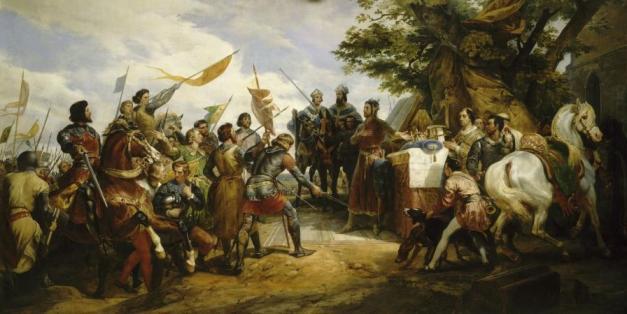Cuadro que representa la batalla de Bouvines entre Felipe II y Juan Sin Tierra