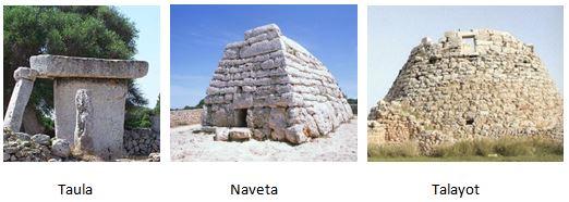Ejemplos de manifestaciones megalíticas de taulas y navetas
