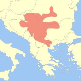 Extensión aproximada de la Cultura de Vinça en los Balcanes