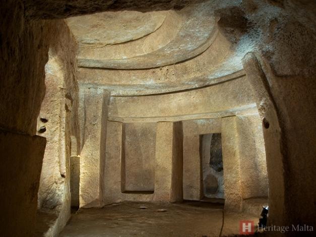 Interior del hipogeo de Hal Saflieni, en Malta