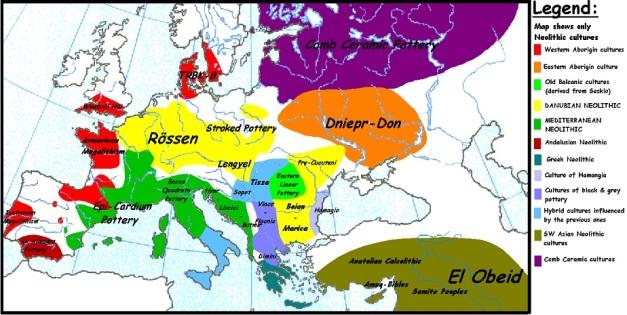 Mapa de complejos culturales europeos entre el 4000 y el 3500 a