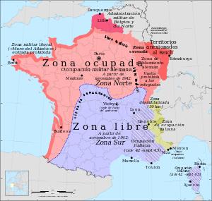 Mapa que muestra la división en Francia entre la ocupada y la resistencia