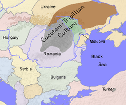 Mapa que muestra la extensión aproximada de la cultura de Cucuteni-Tripolje