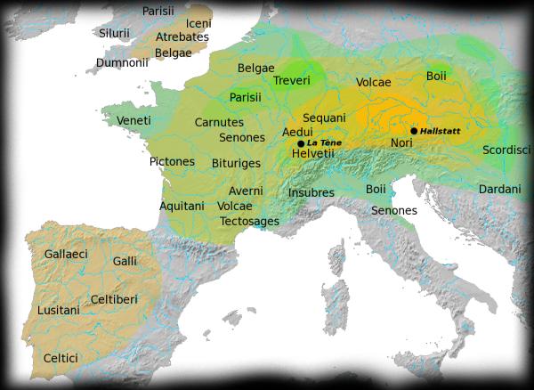 Mapa que muestra la ubicación geográfica de Hallsttat y la Têne
