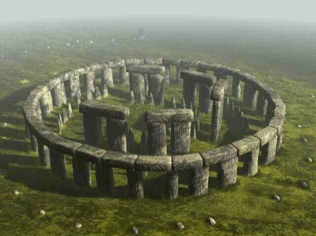 Reconstrucción de la apariencia que debía tener Stonehenge originalmente