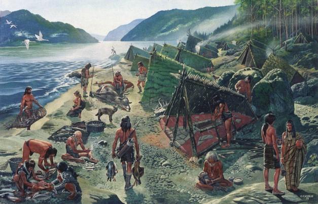 Reconstrucción de lo que sería el poblado de Lepenski Vir