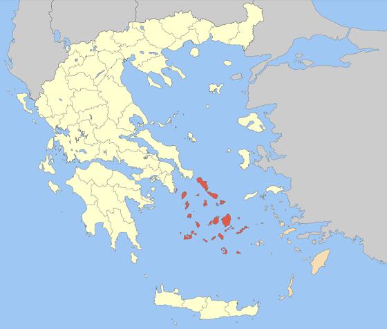 Ubicación en un mapa del Mediterráneo oriental de las Islas Cícladas