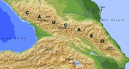Ubicación en un mapa físico del Cáucaso, entre el Mar Negro y el Mar Caspio