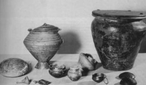Algunas urnas halladas donde se depositaban los restos funerarios en la edad del Bronce final