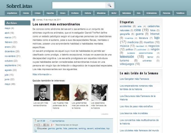 Captura de pantalla de este curioso blog histórico