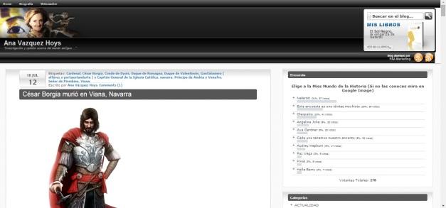 Captura de pantalla de lo que podemos ver al llegar a este blog